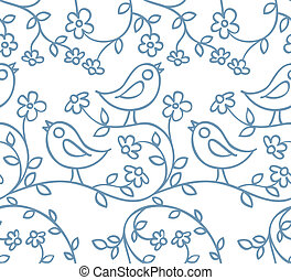 pattern with birds and flowers - seamless pattern with birds...