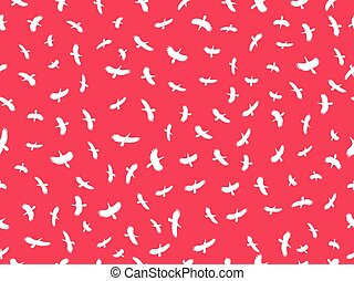 Seamless pattern with birds. Contours of white birds on a red background. Vector illustration
