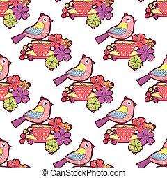 Seamless pattern with birds, cup
