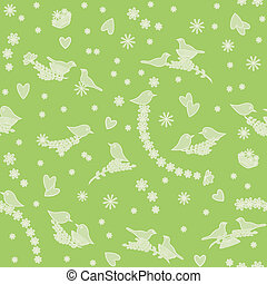 Seamless pattern with birds, flowers and hearts