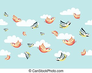 Seamless pattern with birds in clouds on a blue background