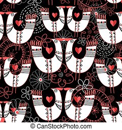 Seamless pattern with birds in love hearts