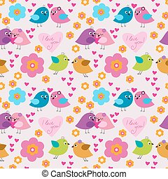 Seamless pattern with birds in love young