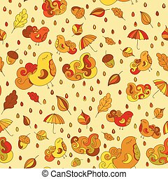 Seamless pattern with birds, leafs, clouds, rain drops, umbrella, acorns. Vector autumn theme background.  Colorful drops.