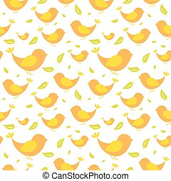 Seamless pattern with birds on light background