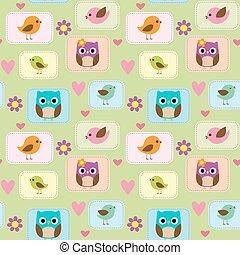 Seamless pattern with birds, owls and flowers