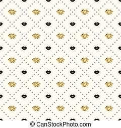 Seamless pattern with black and gold lips kiss shapes. Valentines day. Lipstick kiss. Vector illustration. Background.