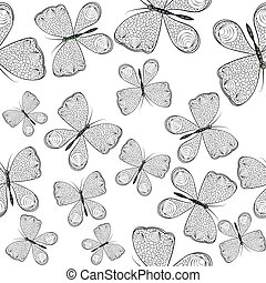Seamless pattern with black and white butterflies