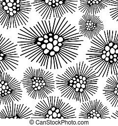 Seamless pattern with black and white flower background. Vector illustration.