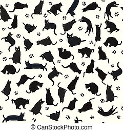 Seamless pattern with black cats silhouettes