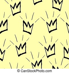 Seamless pattern with black crowns on a yellow background. Vector graphics.