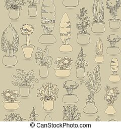Seamless pattern with  black doodle house plants in ceramic pots