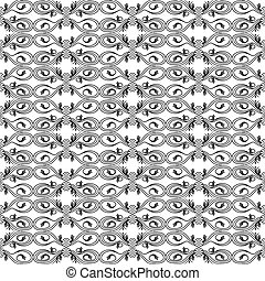Seamless pattern with black floral elements
