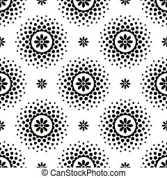 Seamless pattern with black flowers and halftone circle frame on white background