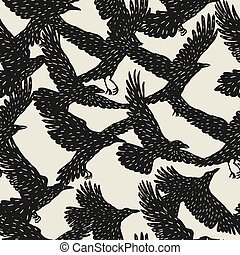 Seamless pattern with black flying ravens. Hand drawn inky ...