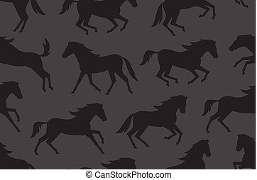 Seamless pattern with black horses silhouettes