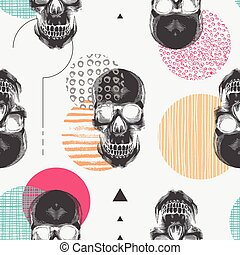 Seamless pattern with black human skulls and colorful circles of different textures. Modern and creative backdrop. Vector illustration in pop art style for wallpaper, wrapping paper, textile print.