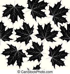 Seamless pattern with black leaves