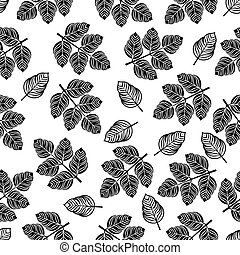 Seamless pattern with black leaves. Vector illustration