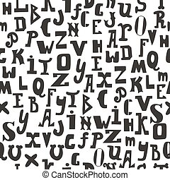 Seamless pattern with black letters on white background. Hand drawn alphabet for your design