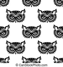 Seamless pattern with black owl head