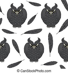 Seamless pattern with black owls and feathers.