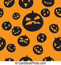 Seamless pattern with black pumpkins on orange background