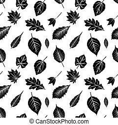 Seamless pattern with black silhouettes of autumn leaves on white. Flat design
