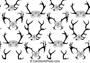 Seamless pattern with black silhouettes of deer and elk horns with flowers on white background.