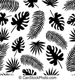 Seamless Pattern with Black Silhouettes of Leaves