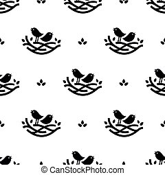Seamless pattern with black singing birds in nest in minimalistic style on white background