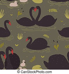 Seamless pattern with black swans and brood of cygnets...