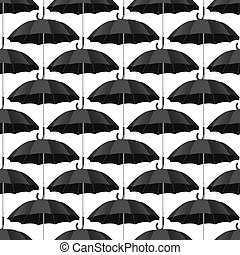 Seamless pattern with  black umbrellas