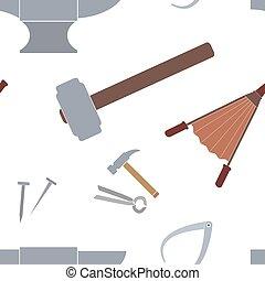 Seamless pattern with blacksmith