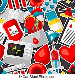 Seamless pattern with blood donation items. Medical and health care sticker objects