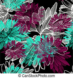Seamless pattern with blooming chrysanthemums. Vector illustration.