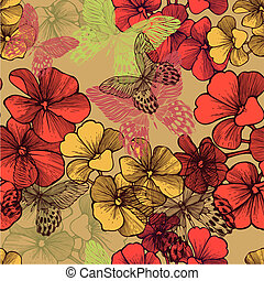 Seamless pattern with blooming geraniums and decorative butterflies. Vector illustration.