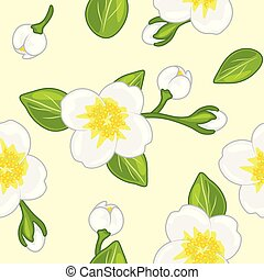 Seamless pattern with blooming jasmine