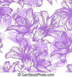Seamless pattern with blooming lilies. Vector illustration.