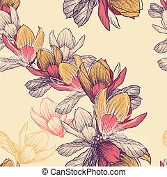 Seamless pattern with blooming magnolia flowers, hand-drawing. Vector illustration.