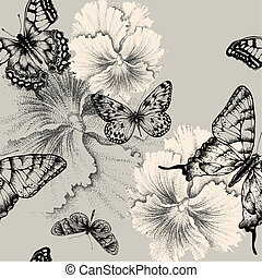 Seamless pattern with blooming pansies and butterflies. Vector illustration.