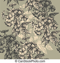 Seamless pattern with blooming phlox, hand-drawing. Vector illustration.