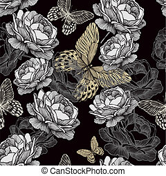 Seamless pattern with blooming roses and butterflies on black background.