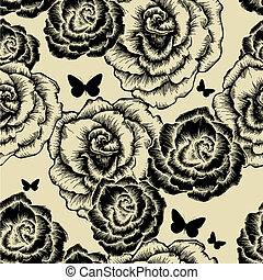 Seamless pattern with blooming roses and butterflies. Vector illustration.