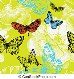 Seamless pattern with blooming roses and flying butterflies. Vector illustration.