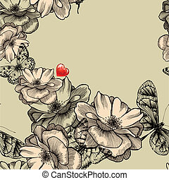 Seamless pattern with blooming roses, butterflies and red hearts. Vector illustration.