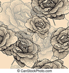 Seamless pattern with blooming roses, hand-drawing. Vector illustration.