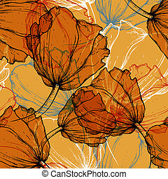 Seamless pattern with blooming tuli