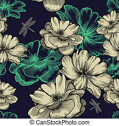 Seamless pattern with blooming wild roses and dragonflies....