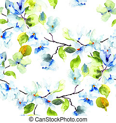 Seamless pattern with Blossoming tree brunch, watercolor ...